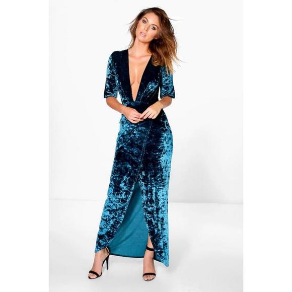 3e566356f1ba BooHoo Dresses | Teal Velvet Deep Plunge Maxi Dress | Poshmark